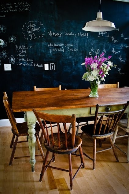 Chalkboard painted wall on www.gudrunvald.wordpress.com